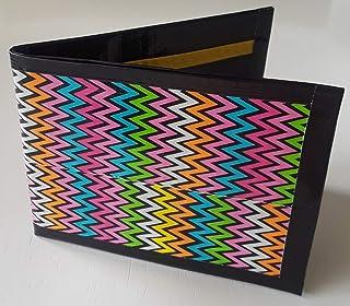 Personalized Purple Damask /& Dots Genuine Leather Mens Bi-fold Wallet