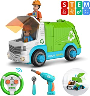 DEERC Remote Control Take Apart Toys Cars for Kids with Electric Drill, 2.4GHz RC Cars Construction Toy STEM Build Your Own Dump Truck, Music & Lights, Assembly Car Toys Gifts for Boys and Girls