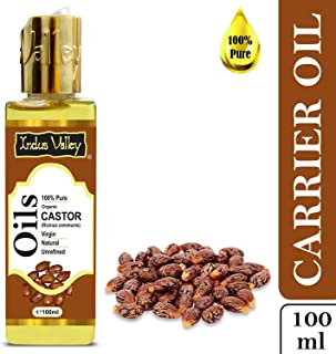 Indus Valley 100% Pure Carrier Oil - Natural, Virgin, unrefined & Cold Pressed Castor Oil for Hair Growth & Skin Glow (100ml)
