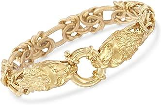 Ross-Simons Italian 24kt Gold Over Sterling Silver Double Lion Head Link Bracelet