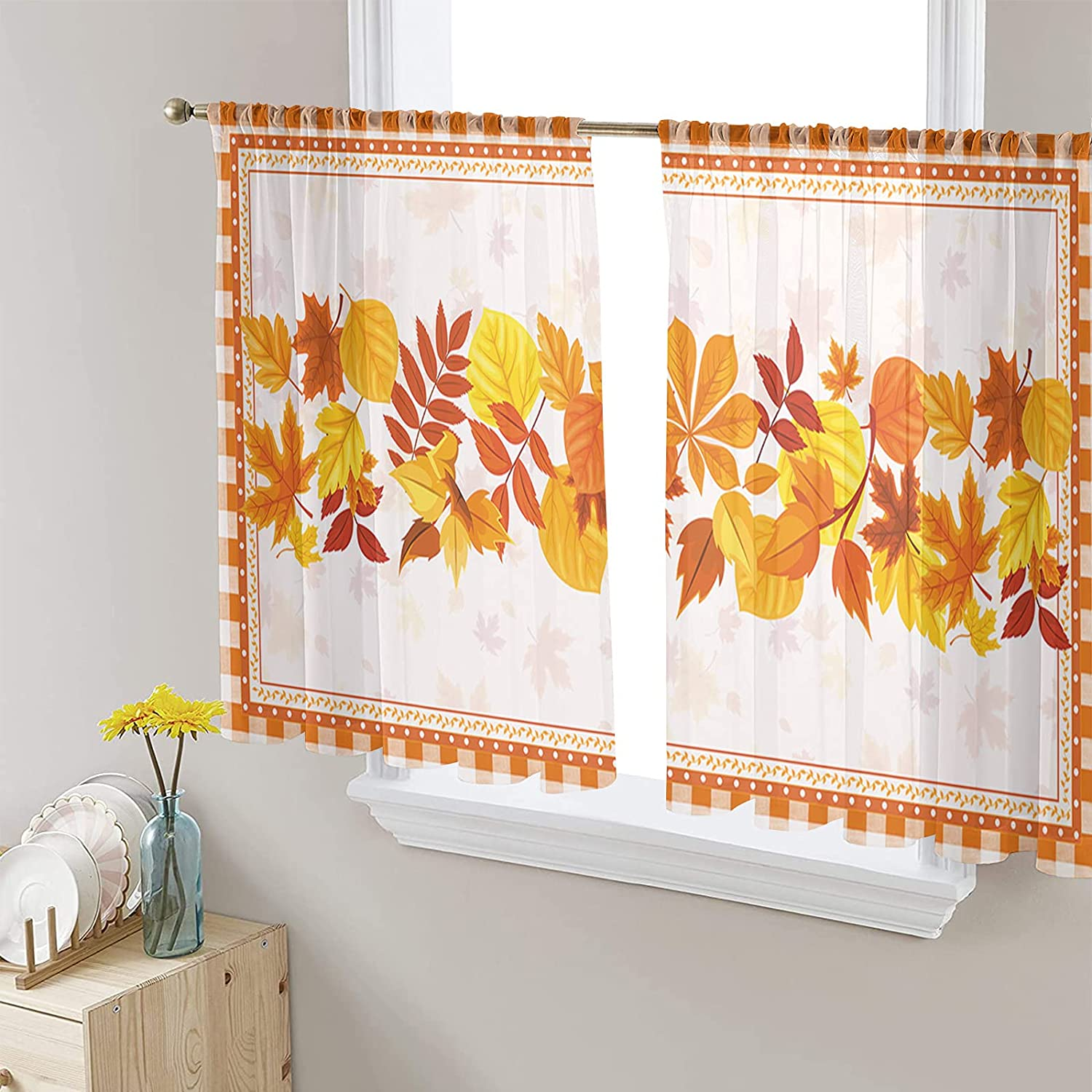 2 store Panels Semi Sheer Voile Curtains Thanksgiving Lea Recommended Autumn Maple