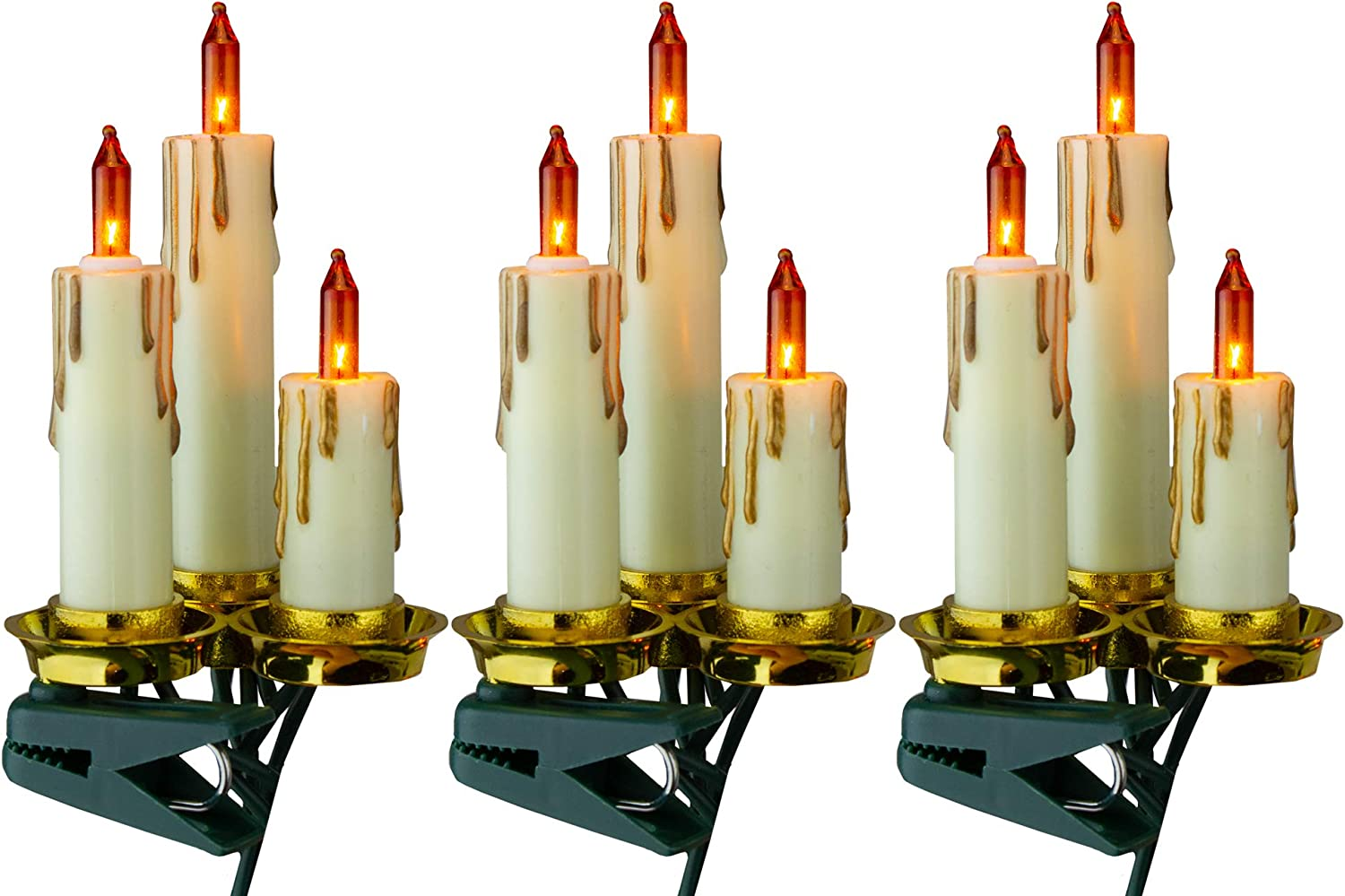 Kurt Adler Max 80% OFF Set of 15 Amber Dripping Chri Ranking TOP6 Clip-On and Candle Gold