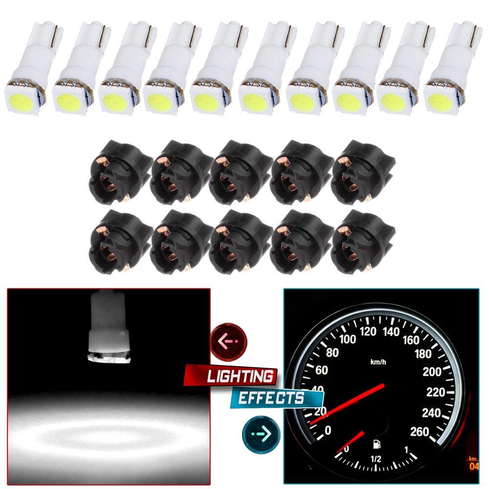 cciyu 20 Pack Xenon White Car T5 Wedge 17 37 70 5050 1SMD LED Instrument Panel Cluster Plug Lamp Dash Light Bulb Bulbs w//Twist Sockets