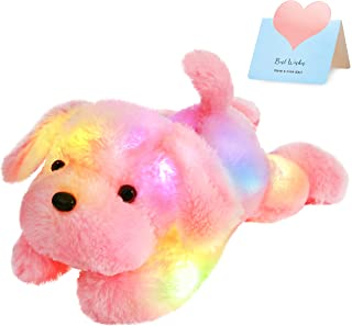 Bstaofy WEWILL Creative Night Light LED Stuffed Animals Lovely Dog Glow Plush Toys Gifts for Kids 18-Inch (Pink)