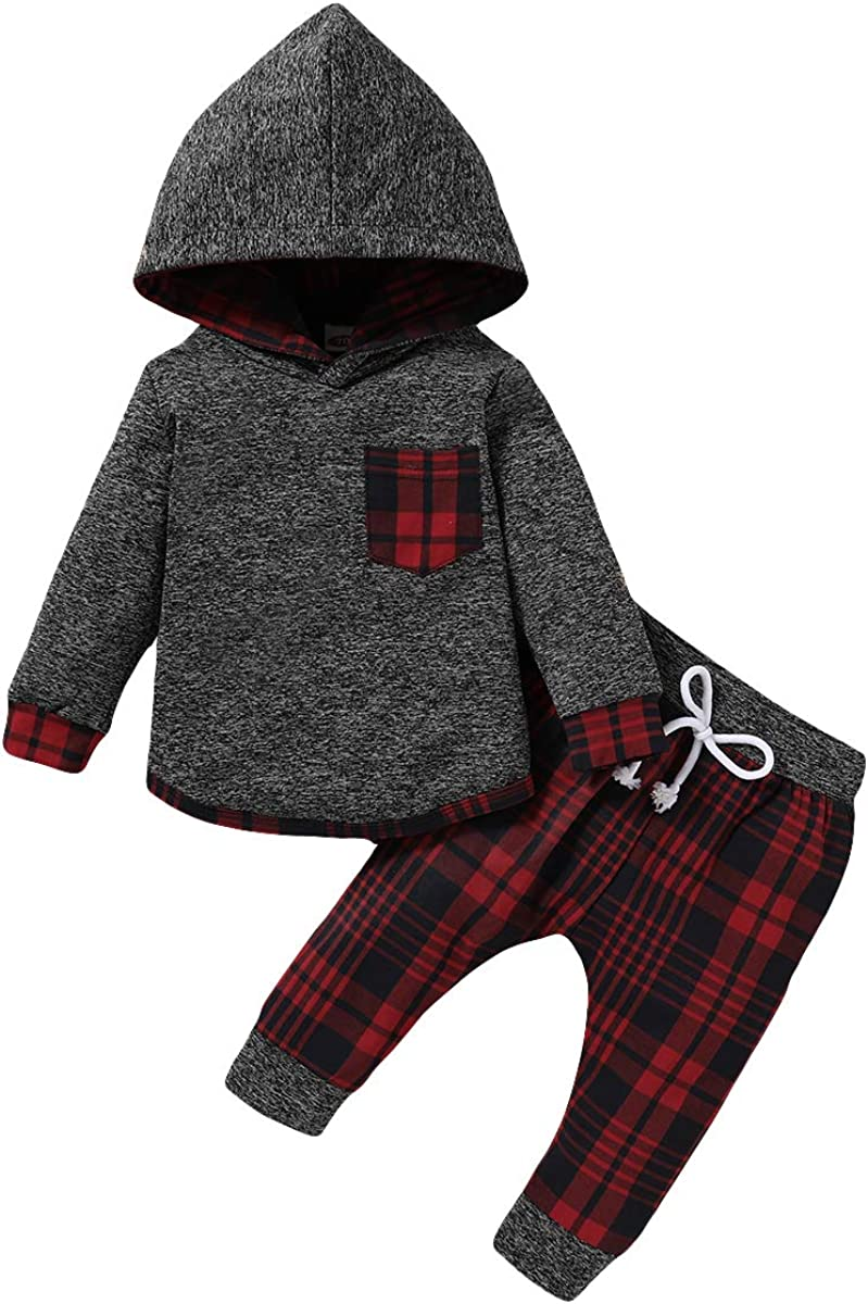 Toddler Infant Baby Boy Clothes Outfit Long Sleeve Plaid Hoodie Sweatshirt Pants Set Fall Winter Newborn Clothes for Boys