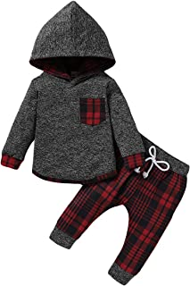 Baby Boy Clothes Fall Outfits Plaid Pocket Hoodie Sweatshirt + Pants Winter Clothes Set