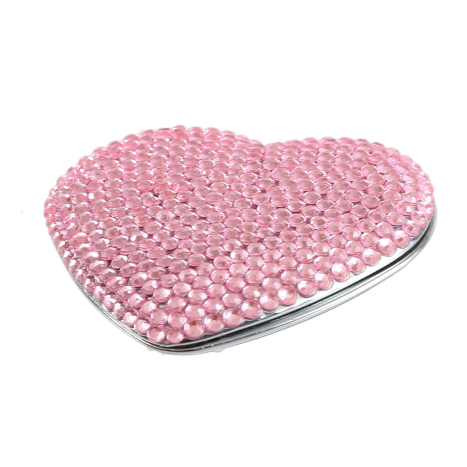 Lovely High quality Pink Portable Bling Crystal Cute Rhineston New mail order Mirror Compact
