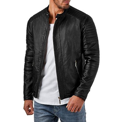 Prestige Homme br22 giacca similpelle nero motivo trapuntato da S a XXL 63b93a63360