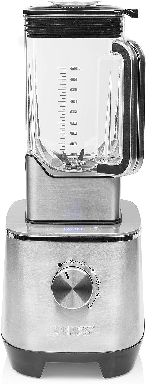 Princess 219500 Potente Batidora de 2000 W con jarra tritan de 2 litros libre de BPA, 6 programas automáticos, apta para picar hielo, Acero inoxidable