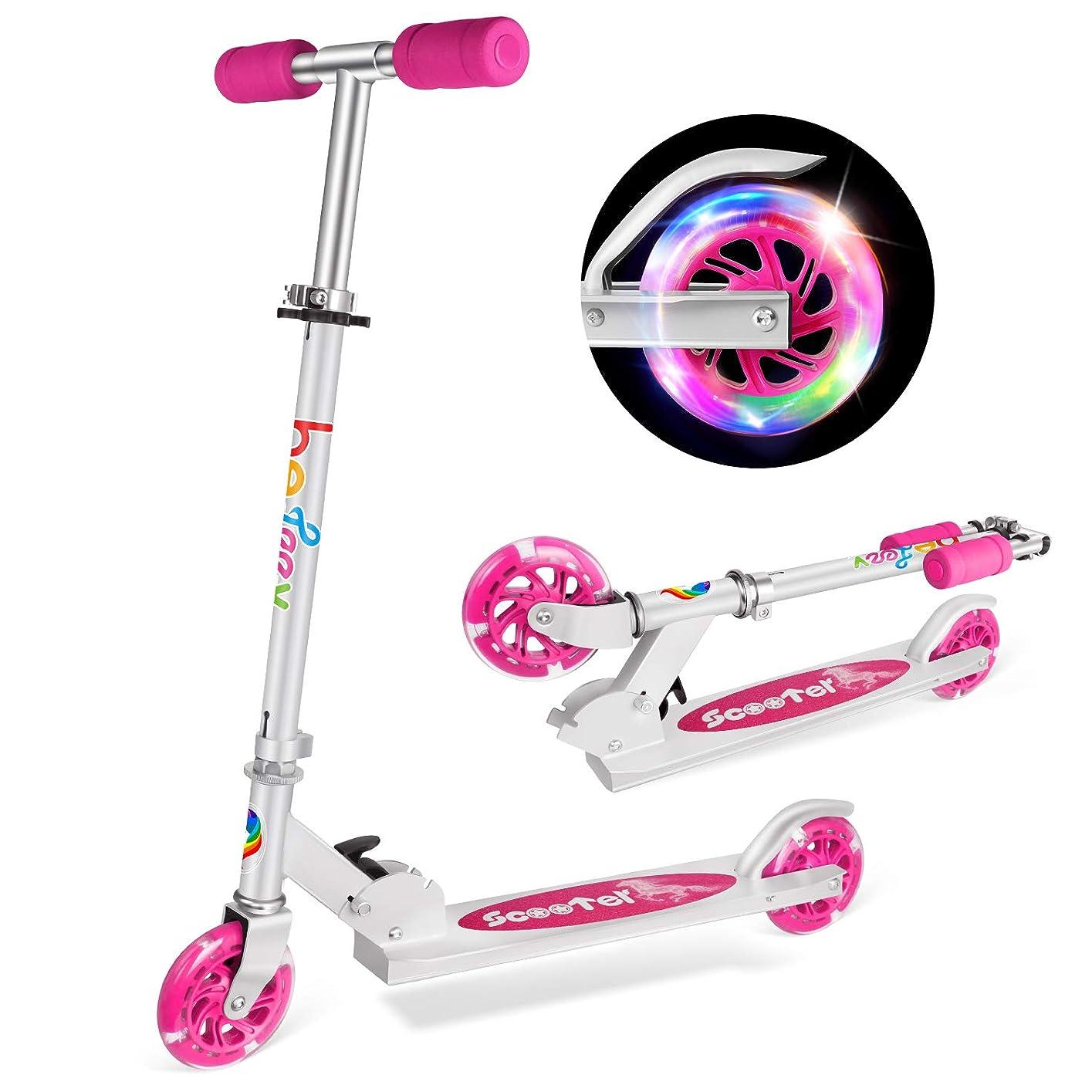 期間エンジニアドラムBELEEV 子供用 キックスクーター 2輪 折り畳み式 キックボード 光るホイール ブレーキ付き スクーター 対象年齢5歳以上