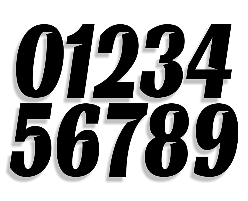 Mx & ATV Number Plate Decals | Set of 3 Decals With Your Custom Number & Color Choice | Sliced Font Style 7