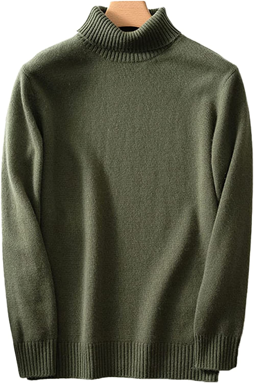Men's Solid Color Turtleneck Cashmere Sweater Thicken Mid-Length Casual Pullover Outwear Tops Daily