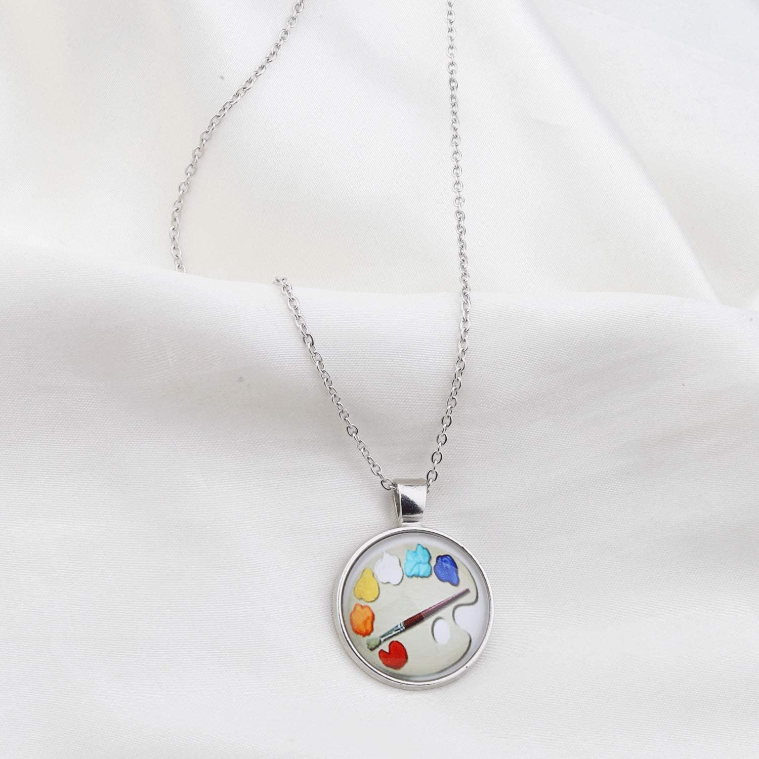 WSNANG Artist Gift Painter Gift Cartoon Color Drawing Board Pendant Necklace Art Student Gift Art School Graduation Gift Painting Girl Gift