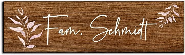 Holz T/ürschild mit Namen f/ür die Haust/ür Namensschild Briefkasten-Schild selbstklebend oder mit Bohrl/öcher Klingelschild mit kratzfestem UV Druck Gr/ö/ße 9x6 cm bunte T/ürschilder
