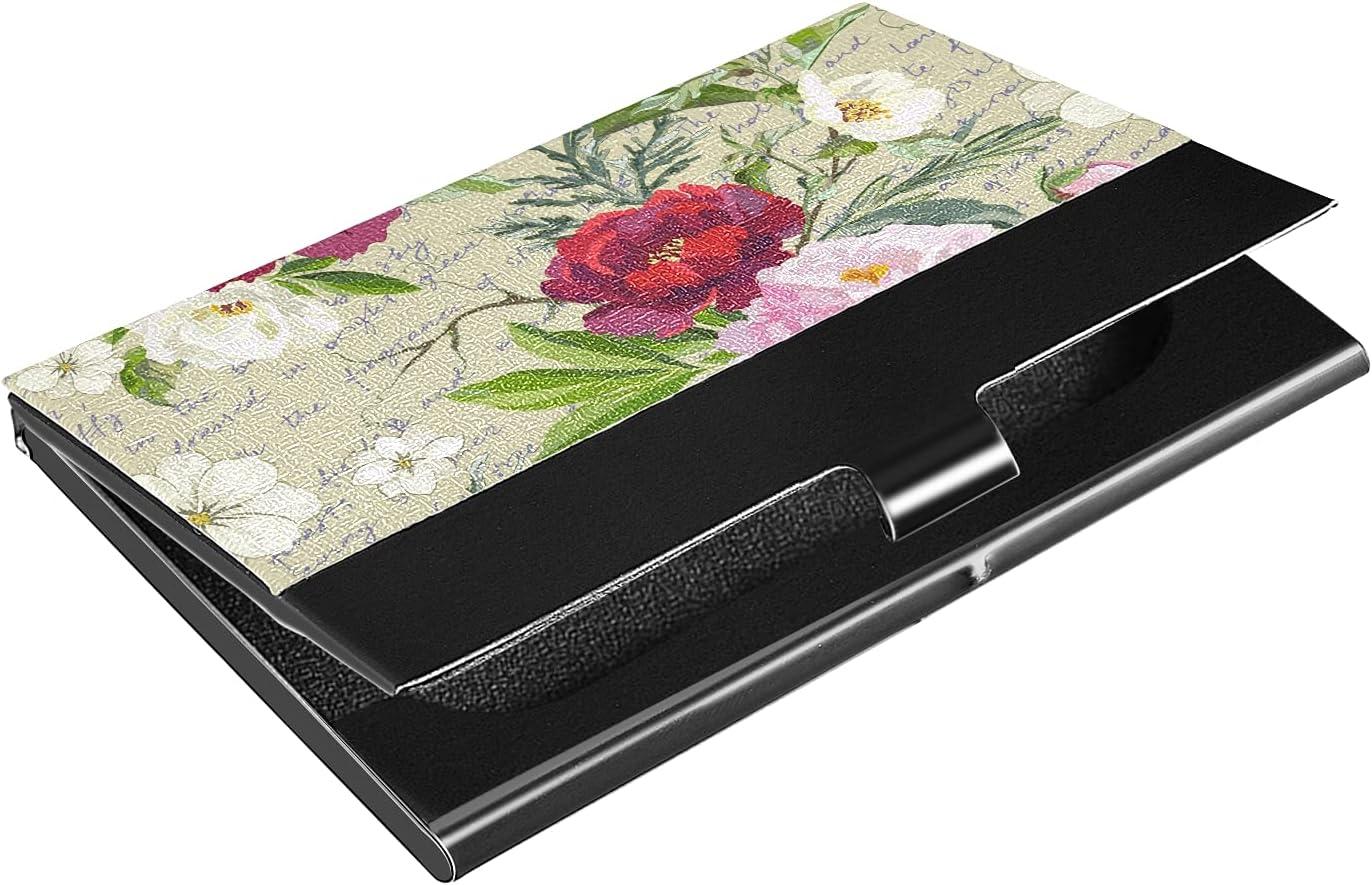 OTVEE Vintage Red Pink Flowers Card unisex Holder OFFer Business Stain Wallet
