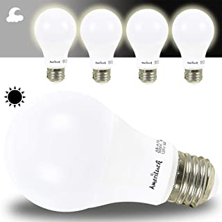 AmeriLuck Dusk to Dawn Auto On/Off Smart LED Light Bulbs A19, 60W Equivalent (9W) 800Lumens (3000K Warm White, 4 Pack)