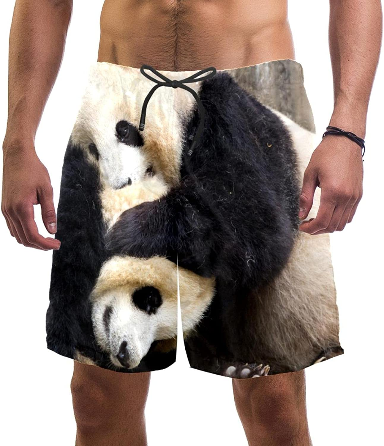 Panda Animal Men's Swimming Trunks Quick Dry Fashion Bathing Suit Beach Shorts with Pockets