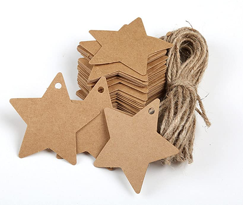 GUZON 150 Piece Brown Star Shaped Kraft Paper Gift Tags with 100 Feet Natural Jute Twine