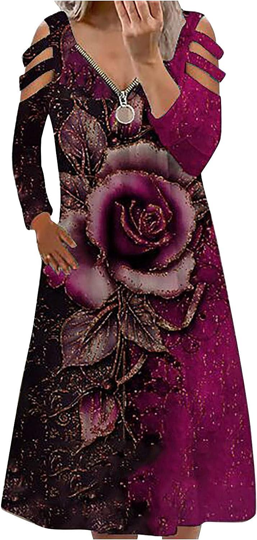 Womens Long Dresses Zipper V Neck Dresses Long Sleeve Fall Sun Dresses Fashion Rose Print Beach Dress