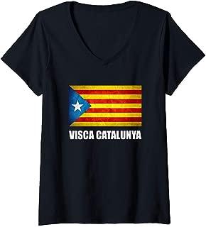 Womens Catalonia Catalunya Catalan Flag Independence V-Neck T-Shirt