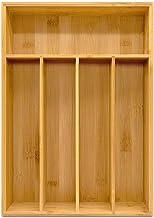 Utopia Kitchen Bamboo Silverware Organizer- 5 Compartments - Bamboo Drawer Organizer - Bamboo Hardware Organizer