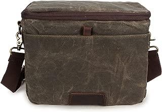 Travel Bag Men's Cross Style Camera Bag Casual Shoulder Bag Batik Canvas with Crazy Horse Bag SLR Waterproof Camera Bag Cross Body Casual Crossbody Bag (Color : Bronze, Size : M)