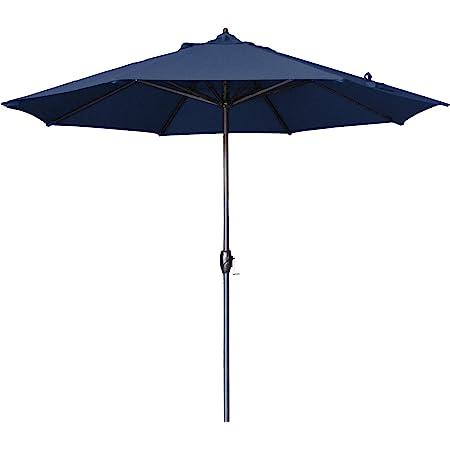 Amazon Com California Umbrella 9 Round Aluminum Market Umbrella Crank Lift Auto Tilt Bronze Pole Navy Blue Olefin Patio Umbrellas Garden Outdoor
