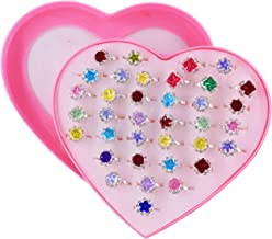 SUNMALL 36 pcs Little Girl Adjustable Rhinestone Gem Rings in Box, Children Kids Jewelry Rings Set with Heart Shape Display Case, Girl Pretend Play and Dress up Rings for Kids