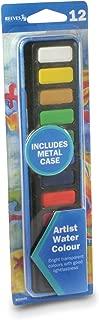 Reeves 12-Piece Water Color Metal Tin Pan Set with Bonus Brush