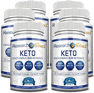 Research Verified Keto - Vegan Keto Supplement with 4 Exogenous Ketone Salts (Calcium, Sodium, Magnesium and Potassium) an...