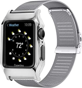 HUALIMEI Metal Case for Apple Watch Band 44mm Series 6 SE 5 4, Milanese Strap Shock Proof Protective Bumper Case Loop Replacement Wristband with Rugged Cover for iwatch Series 44mm (44mm, Silver)