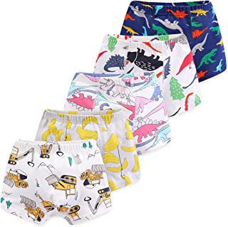 CHUNG Toddler Little Boys Soft Modal+ Cotton Boxer Briefs Underwear 5 Pack Dinosaur 2-7Y