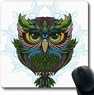 Ahawoso Mousepads for Computers Drawing Beak Owl Tattoo Bird Cute Detailed Outline Oblong Shape 7.9 x 9.5 Inches Non-Slip Oblong Gaming Mouse Pad