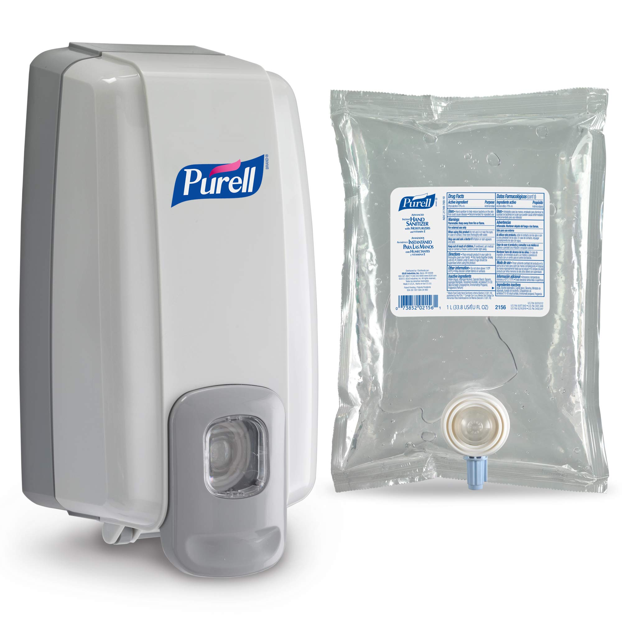 퓨렐 NXT 푸쉬 디스펜서, 리필용 손세정제 세트 구성 PURELL Advanced Hand Sanitizer NXT Starter Kit, 1 - 1000 mL Gel Hand Sanitizer Refill + 1 PURELL NXT SPACE SAVER Dove Grey Push-Style Dispenser – 2156-D1