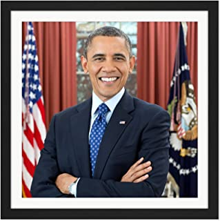 Souza Portrait US President Barack Obama Photo Square Wooden Framed Wall Art Print Picture 16X16 Inch