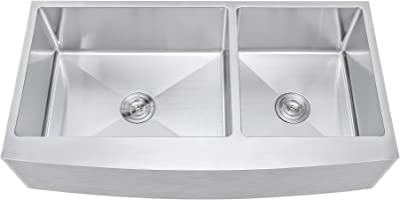 42 Inch 60 40 Offset Double Bowl Farmhouse Apron Front Stainless Steel Kitchen Sink 15mm Radius Coved Corners Amazon Com