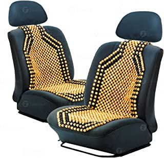 Zone Tech Set of 2 Premium Quality Double Strung Two Tone Wooden Beaded Ultra Comfort Massaging Car Seat Cushion