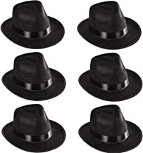 Funny Party Hats Black Fedora Gangster Hat Costume Accessory - Pack of 6