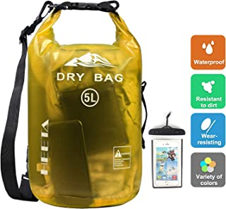 HEETA Waterproof Dry Bag for Women Men, 5L/ 10L Roll Top Lightweight Dry Storage Bag Backpack with Phone Case for Travel, Swimming, Boating, Kayaking, Camping and Beach