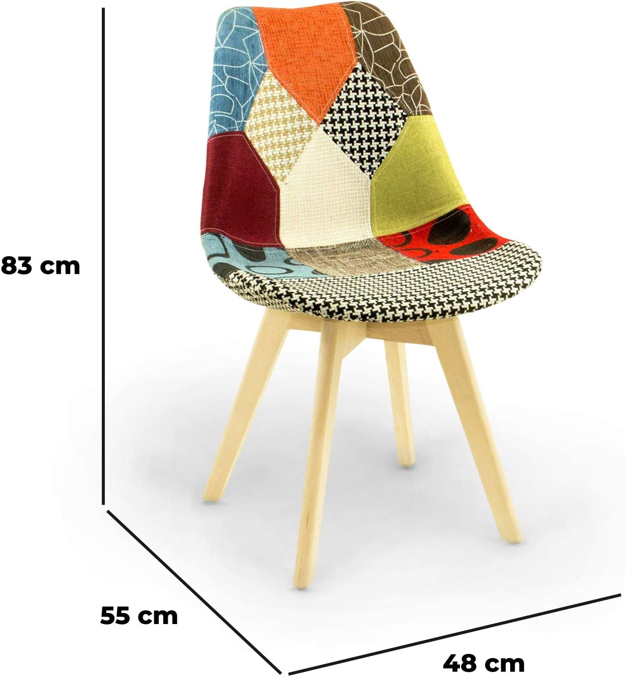 Multicolor, 2 Set 2 Poltrona Patchwork Sedia poltroncina in Tessuto Multicolor Gambe in Legno