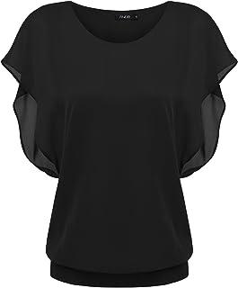 Zeagoo(ジアグー) ブラウス レディース シフォン トップス 半袖 シャツ 無地 ゆる とろみ 体型カバー エレガント ドルマン ウェストゴム 大きいサイズ対応 15色