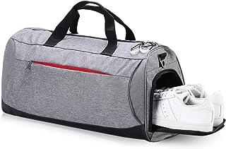 حقيبة رياضية مع مقصورة للأحذية، حقيبة سفر من القماش الخشن المقاوم للماء للرجال والنساء