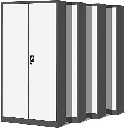 Jan Nowak by Domator24 C001 Set de 4 Armoire de Bureau XL Métallique C001H 4 Etagères Tôle d'acier Portes Battantes Verrouillable 195 cm x 90 cm x 40 cm (Anthracite/Blanc)