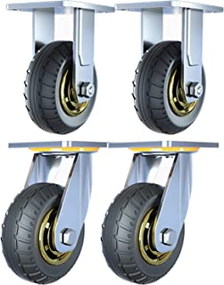 Silent Swivel Casters, Heavy Trolleys/flatbed Trucks, Rubber Directional Pulleys, Lockable Bearing Casters With Brakes (Pa...