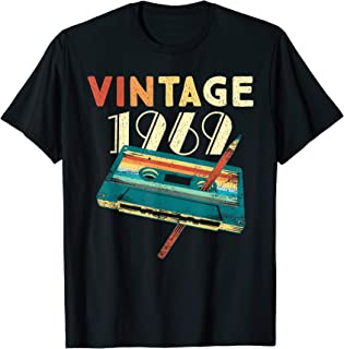 Vintage 1969 Music Cassette 50th Birthday Gifts 50 Years Old T-Shirt