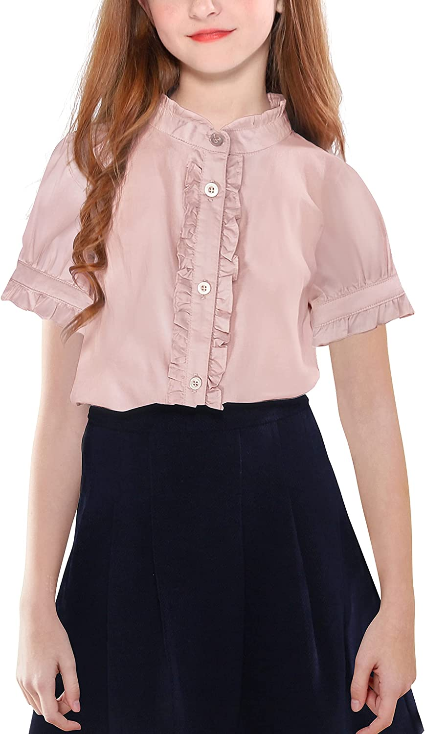 maoo garden Girls Casual All stores are sold Short-Sleeve Uniform Cotton Blouses Bargain sale Shi