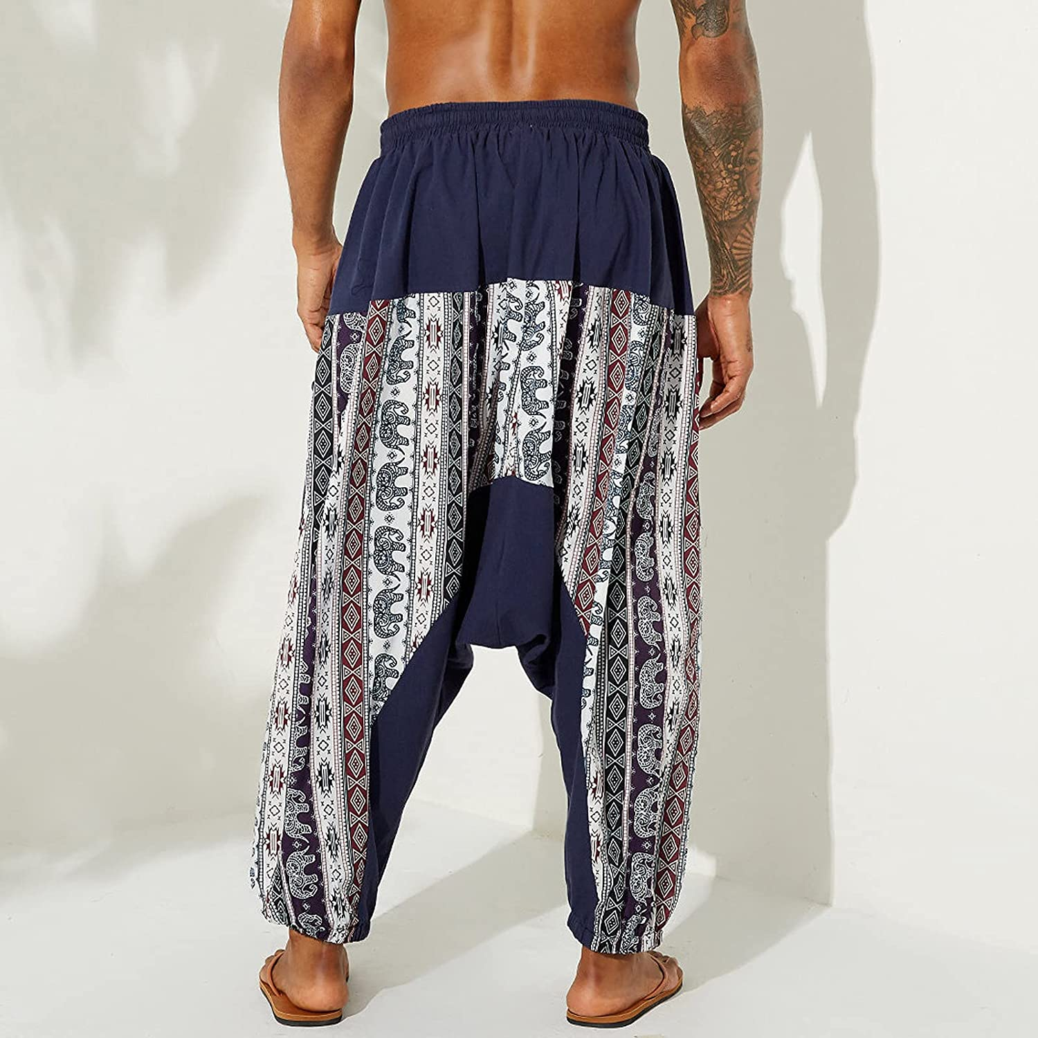 Huangse Men's Casual Workout Athletic Pants Plus Size Printed Wide Leg Ethnic Style Pants with Elastic Waistband