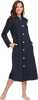 Women's Cotton Button Front Long Sleeve Loungwear Dressing Gown Sleepwear Spa Bathrobe S-XXL