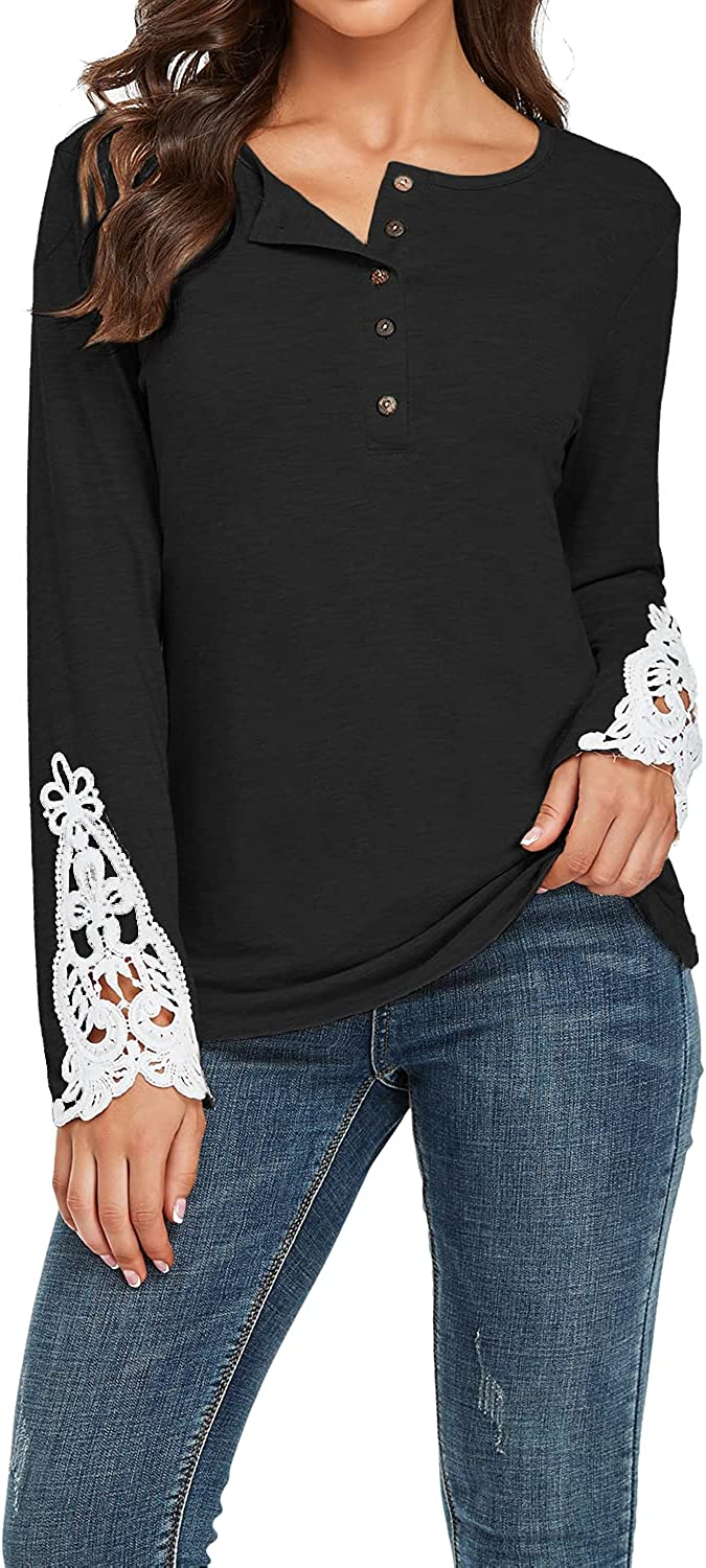 CALOER Womens Tops Long Sleeve Lace Max 82% OFF Solid Popularity Hen Trim Color Blouses