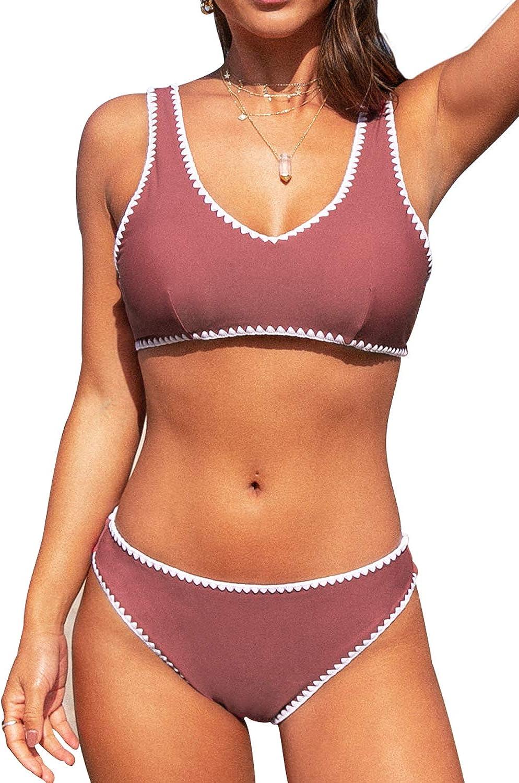 CUPSHE Women's Sporty Crochet Trim Bikini Sets